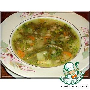 Постный суп с двумя видами фасоли