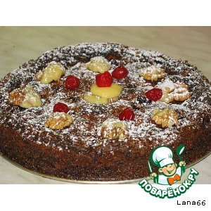 Шоколадно-вишневый пирог с грецкими орехами
