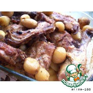 Курица с луком и картофелем