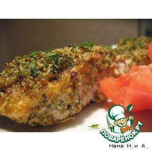 Запечeнная рыба в зелeной панировке