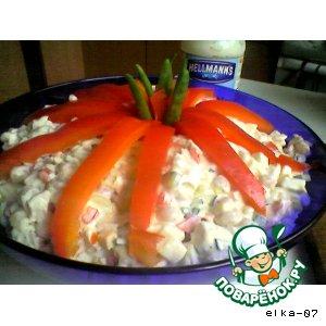 Салат из куриного филе с фасолью