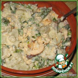 Салат с цветной капустой и омлетом