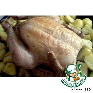 Курица с золотистым картофелем