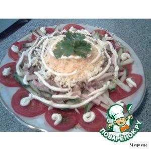 Слоeный овощной салатик