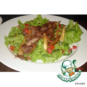 Салат из куриной печени с шафраном