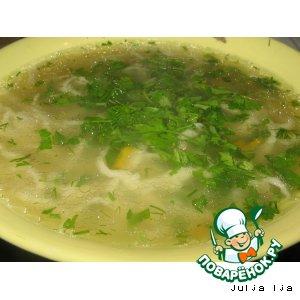 Суп курино-грибной с домашней лапшой