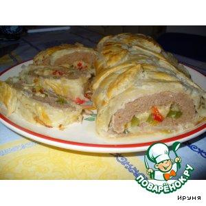 Пирог-рулет с мясом