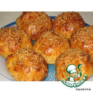 Пикантные сырные булочки с ветчиной