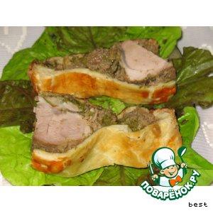 Мясо в тесте на грибной подушке