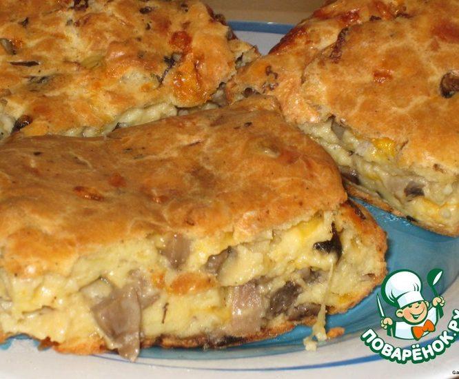 Грибной пирог с сыром в заварном тесте