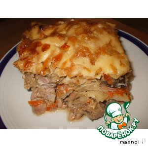 Мясо, запеченное с грибами и сыром