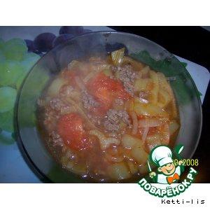 """Томатный суп с фаршем """"Мексиканские мотивы"""""""