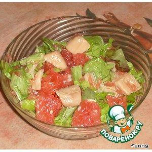 Салат из грейпфрутов и гребешков