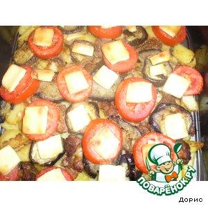 Картофель с говядиной и баклажанами