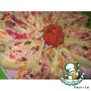 Рулет из лаваша с овощами по-корейски