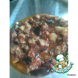 Баклажаны и патиссон в томатном соке