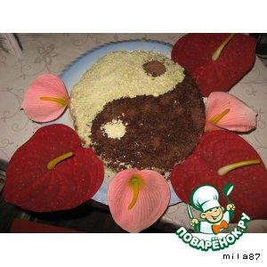 """Бисквитный торт """"Инь и Ян"""""""