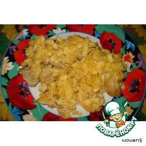 Макароны с курицей под сырным соусом
