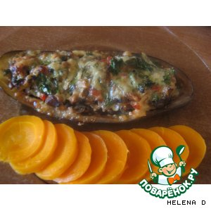 """Баклажановые """"лодочки"""", запеченные с овощами"""