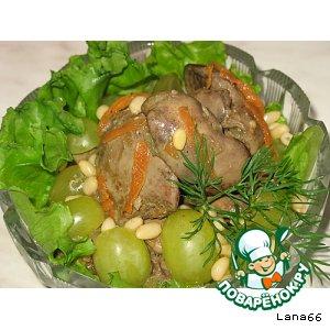 Тeплый салат с куриной печенью