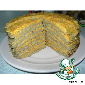 Печеночный торт со сливочно-морковной начинкой
