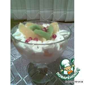 Творожный десерт с персиками