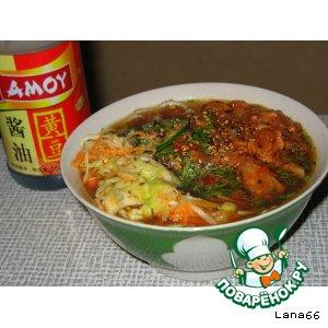 Кук-си с мясом и весенним салатом по-корейски