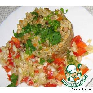 Рис с овощами и куриным соусом