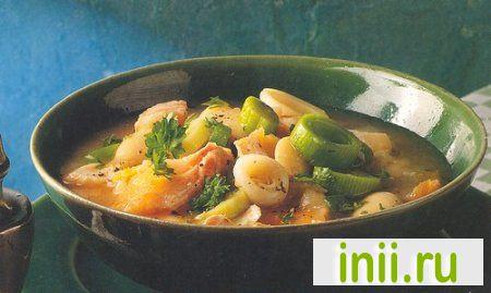 Суп из белой фасоли и копченой пикши
