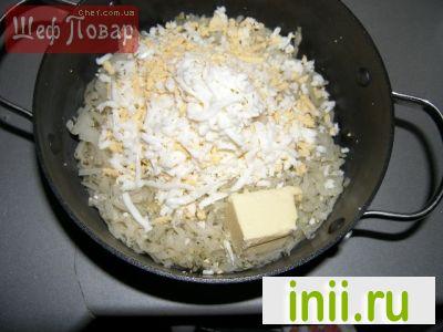 Творожный пирог с капустой