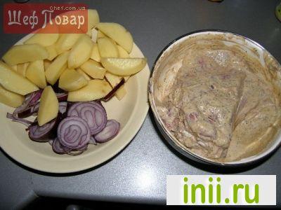 Мясо, запеченое в кулинарном мешочке с картофелем