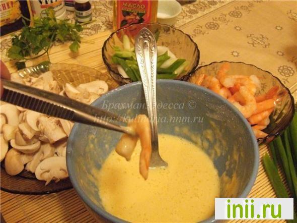 Зару соба.Гречневая лапша,овощи темпура и креветки.